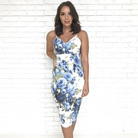 Be Near Me Floral Dress in Blue