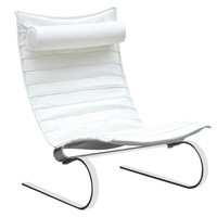 Lounge Chair White Ribbed Leather