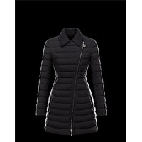Moncler NOUES Classic Neckline Broadcloth Collar Black Coats Techno Fabric Womens 4145