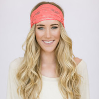 Coral Lace Headband Stretchy Wide Lace Turband Head Covering For Women or Teens with Lace Covered Elastic Two Layers (HB-FINCH-A)