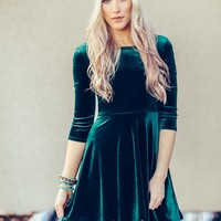 Emerald Swing Velvet Dress