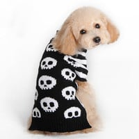 Halloween Skull warm Pet dog cat crochet knit Sweater Pullover clothing small dog Chihuahua Coat jacket Cothes for dachshund
