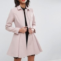 ASOS Swing Coat with Full Skirt and Zip Front at asos.com