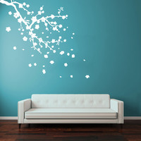 Wall Decal Vinyl Sticker Decals Art Decor Design flower blossom sakura cherry Branch Corner Leaves Dorm Bedroom House Fashion (r1322)