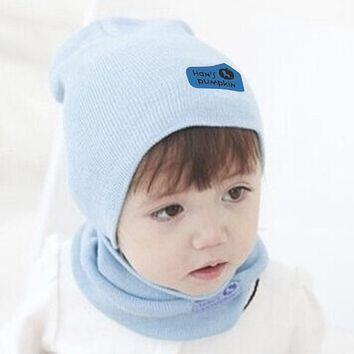 Cute Autumn Winter Baby Cap Scarf Set Infant Girls Boys Warm Hat Kids Beanie Children Knitted Hat and Scarf Set 6 Colors