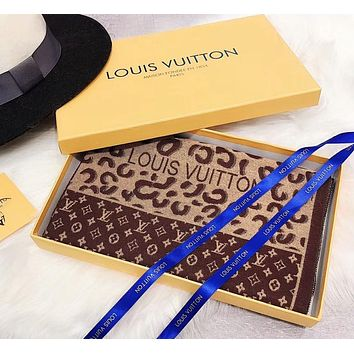 Bunchsun LV Winter Newest Popular Louis Vuitton Comfortable Cashmere Cape Scarf Scarves Shawl Accessories Coffee