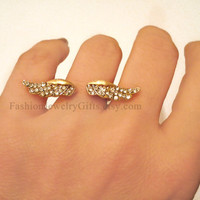 Mothers day SALE, Cocktail Ring, Gold, Novelty Ring, Statement Ring, Mother's Day Gift, Angel Wings Rhinstone