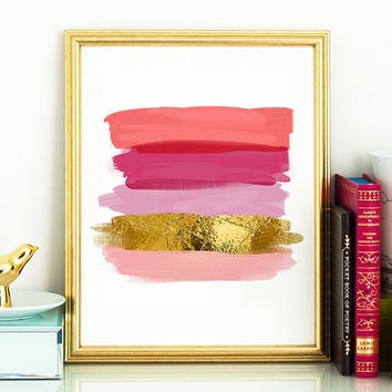 PRINTABLE art  decor: Pink,coral & faux gold paint swatches,bedroom wall decor,abstract printable art,instant download,5x7, 8x10 PDF, JPG