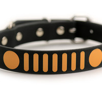 Jeep Grille Dog Collar - Waterproof Design on Black 1 inch