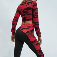 Women Long Sleeve Fitness Workout Set Camouflage T-shirt Nous Athletic Yoga Exercise Clothing Gym Sport suit Crop Top Leggings