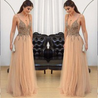 Prom Dresses Beaded Evening Dresses Straps Sequins Tulle