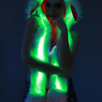 Bunny Hood Glow Fur w/ NEW LEDS, pick your setting!  Faux Fur hat, color changing lights for EDC, Ultra, Festival, Rave, Burning man etc.