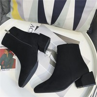 Women All-match Fashion Suede Square-toe Chunky Heel Short Boots Heels Shoes