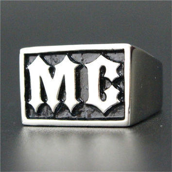 Stainless Steel MC Biker Ring