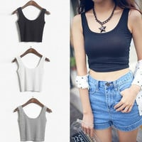Crop Top 2015 New Fashion Women's Solid Color Skinny O-Neck Short Sport Dance Tight Tank Tops Colete Feminino = 1956685444