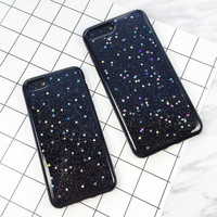 Fashion Glitter Powder Stars Phone Cases For iphone 7 6 6s Plus Case Cute Sparkling Powder Star Shine Soft TPU GEL Back Cover