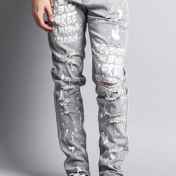 Scribbled Bleach Washed Jeans