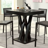 Modern 42-inch High Square Dining Table in Dark Cappuccino Finish