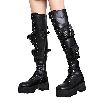 Women Leather Over The Knee Black Platform Pocket Fashion Boots