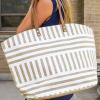 Natural Print Tote Stipe