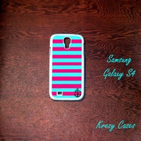 Samsung Galaxy S4 Case,  Pink and turquoise Stripe with anchor  Samsung Galaxy S4/S3 Phone case,  Samsung Galaxy S3 Cases