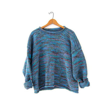 vintage colorful knit sweater. Cropped sweater. Thick cotton knit sweater. Boxy sweater.