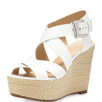 Celia Leather Mid-Wedge Espadrille Sandal, Optic White