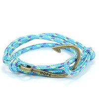 Thin Nylon Cord Fish Hook Bracelet in Aqua