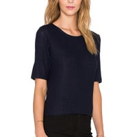 Velvet by Graham & Spencer Shelby Rayon Rib Tee in Navy