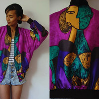 Vtg Picasso Print Purple Green Yellow Zip Up Bomber Jacket