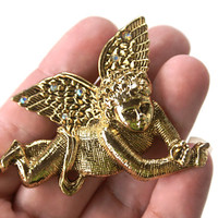Vintage Cherub Brooch Angel Pin with Rhinestones