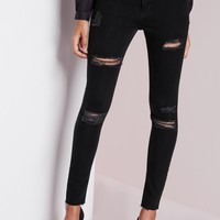 Missguided - Sinner High Waisted Ripped Skinny Jeans Black