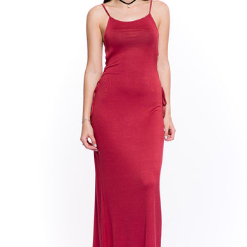 (akt) Laced up on sides maxi dress -Rust-