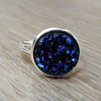 Druzy Ring- Midnight purple blue drusy silver tone druzy ring