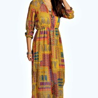 Haley 70's Paisley Cage Back Maxi SHift Dress