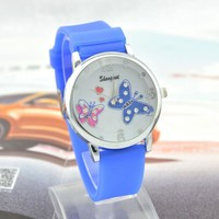 Designer's Trendy Great Deal New Arrival Awesome Gift Good Price Stylish Silicone Romantic Cartoons Butterfly Watch [6049416769]