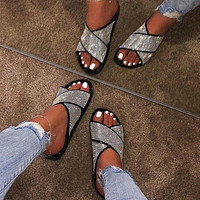 Women's summer new style rhinestone sandals women slippers