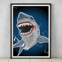 Shark tooth necklace gold ? NO, print poster wall illustration colorful design