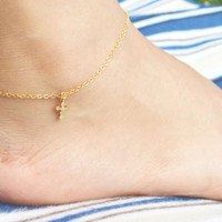 F-009 Cubic cross anklet, Religious, Zirconia, Simple anklet, Modern anklet, Gold plated/ Bridesmaid gifts / Everyday jewelry /