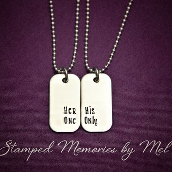 Her One, His Only Mini Dog Tag Set - Hand Stamped Couples Jewelry - Necklace Set - His and Hers - Gift for Couple, Newlyweds, Anniversary