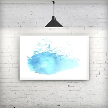 Abstract Blue Watercolor Seagull Swarm - Fine-Art Wall Canvas Prints
