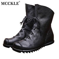 Women Fashion Vintage Genuine Leather Shoes Spring Autumn Platform Ankle Boots Woman Lace Up Casual Boots
