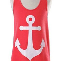 Womens Sleeveless Hollow Out Anchor Tank Top Back Bowknot T-Shirt Blouse