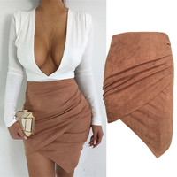 Fashion Women High Waist Lace Up Suede Leather Pocket Preppy Short Mini Skirts