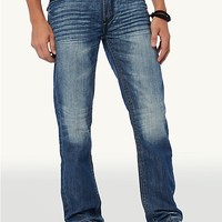 Leather Stitched Pocket Relaxed Straight Jean