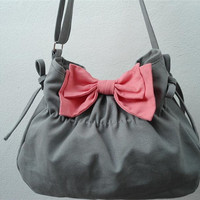 Gray bag with pink  bow Purse/shoulder bag / Diaper bag/ by Gooza