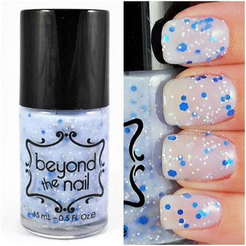 Blue Skies - Blue Crelly Nail Polish with Glitter