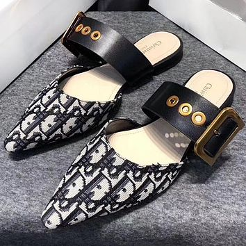 Dior Hot Sale Women Retro Pointed Half-slippers Sandals Shoes
