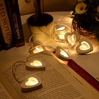 10 LED Warm Wooden Heart Shape String Fairy Lights For Christmas Xmas Wedding Decoration Party Valentine's Day Decoration