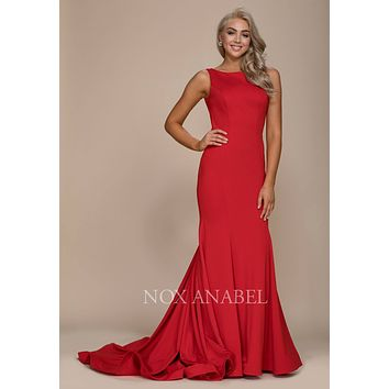 Red Long Mermaid Prom Dress Bateau Neckline with Train